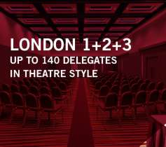 LONDON 1+2+3 – UP TO 140 DELEGATES – IN THEATRE STYLE