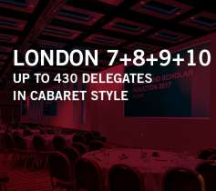 LONDON 7+8+9+10 – UP TO 430 DELEGATES – IN CABARET STYLE